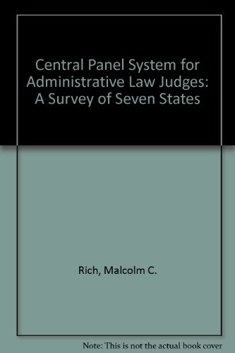 9780890935507: Central Panel System for Administrative Law Judges: A Survey of Seven States