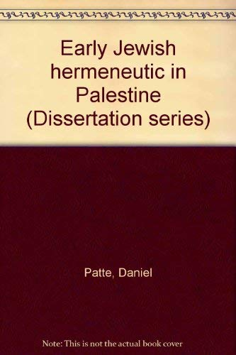 9780891300151: Early Jewish hermeneutic in Palestine (Dissertation series - Society of Biblical Literature ; 22)