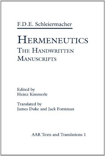 9780891301868: Hermeneutics: The Handwritten Manuscripts (AAR Religions in Translation)