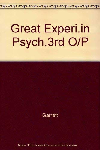 9780891971900: Great Experiments in Psychology