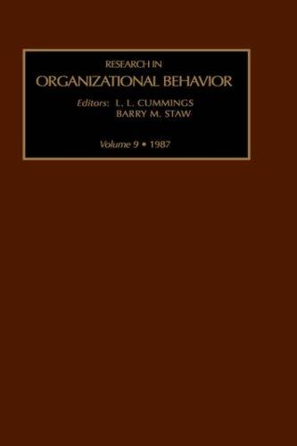 9780892326365: Research in Organizational Behavior, Volume 9