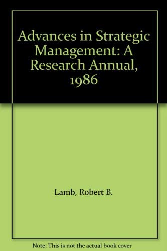 9780892326686: Advances in Strategic Management: A Research Annual, 1986