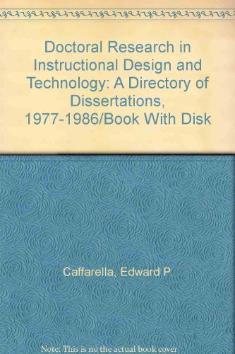 9780892400577: Doctoral Research in Instructional Design and Technology: A Directory of Dissertations, 1977-1986/Book With Disk