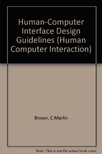 9780893913328: Human-Computer Interface Design Guidelines (Human/Computer Interaction Series)