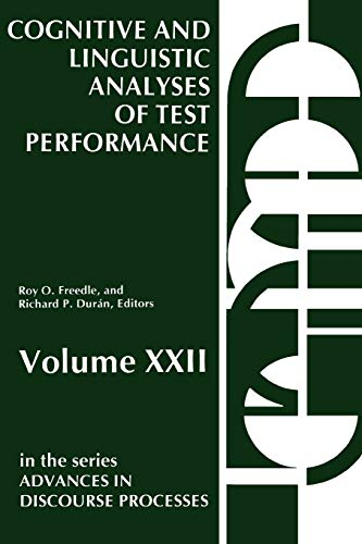 COGNITIVE AND LINGUISTIC ANALYSES OF TEST PERFORMANCE,: Freedle, Roy O,