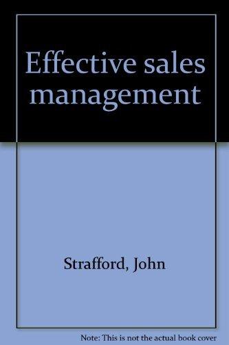 9780893972455: Effective sales management