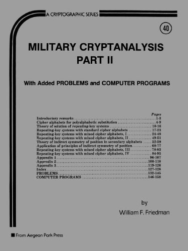 9780894120640: Military Cryptanalysis, Part II, With Added Problems and ComputerPrograms (Cryptographic Series, C-40)