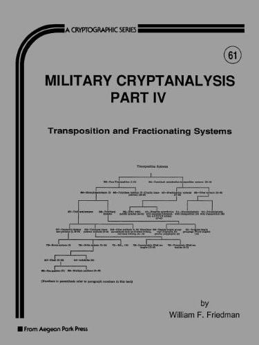 9780894121982: Military Cryptanalysis: Transposition and Fractionating Systems (Cryptographic Series)