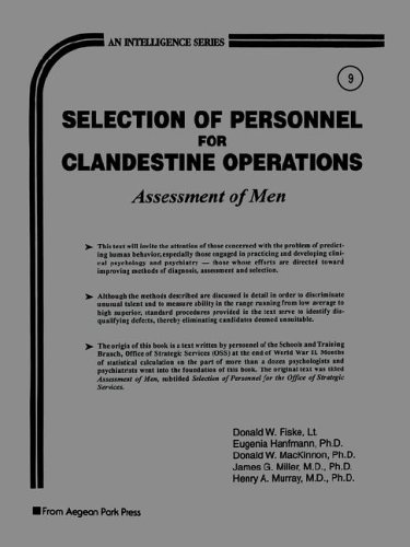 9780894122026: Selection of Personnel for Clandestine Operations: Assessment of Men (Intelligence Series)