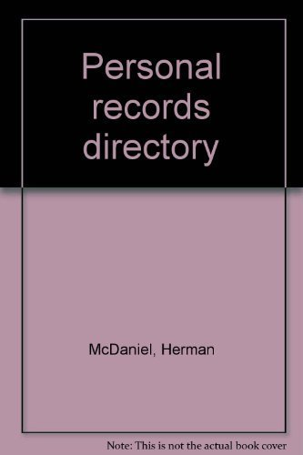 9780894330896: Personal records directory [Hardcover] by McDaniel, Herman
