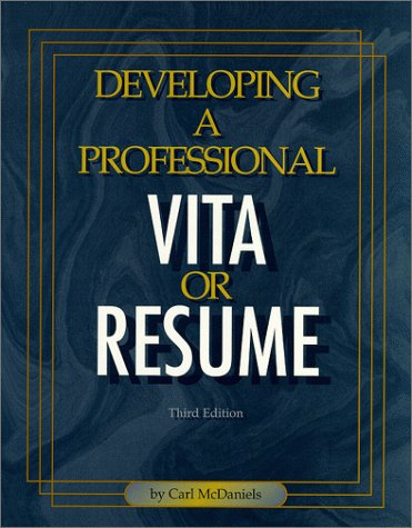 9780894341786: Developing a Professional Vita or Resume