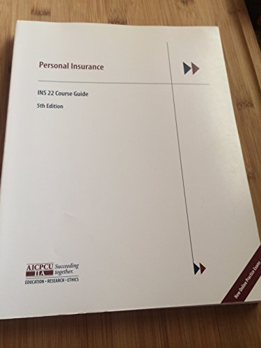 9780894633645: Personal Insurance INS 22 Course Guide 5th Edition Aicpcu