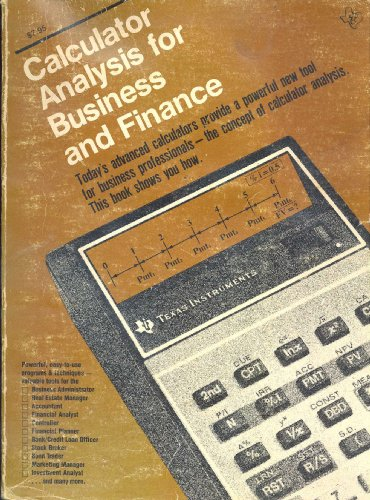 9780895120151: Calculator Analysis for Business and Finance