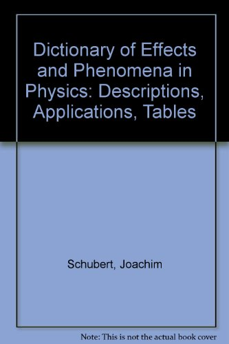 9780895734877: Dictionary of Effects and Phenomena in Physics: Descriptions, Applications, Tables