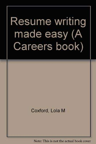 9780897878128: Resume writing made easy (A Careers book)