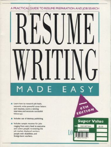 9780897878326: Resume Writing Made Easy: A Practical Guide to Resume Preparation and Job Search