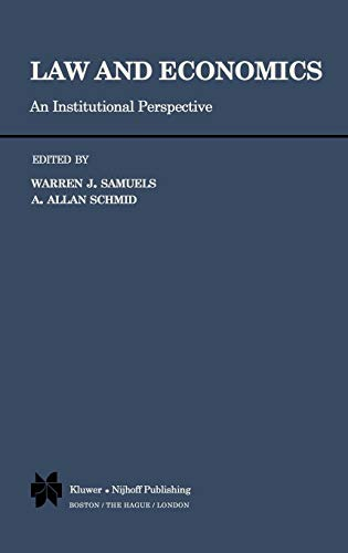 9780898380491: Law and Economics: An Institutional Perspective