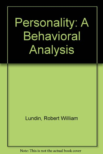 9780898749588: Personality: A Behavioral Analysis