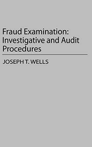 9780899306391: Fraud Examination: Investigative and Audit Procedures