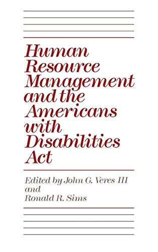 9780899308579: Human Resource Management and the Americans with Disabilities Act