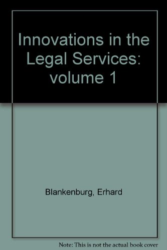 9780899460109: Innovations in the Legal Services: volume 1 (Research on service delivery)