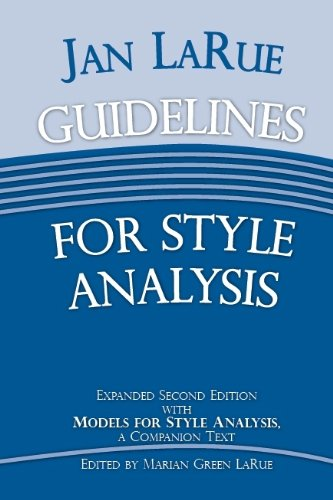 9780899901565: Guidelines for Style Analysis: Models for Style Analysis, a Companion Text (Detroit Monographs in Musicology)
