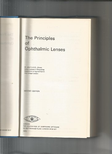 9780900099083: Principles of Ophthalmic Lenses