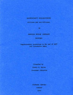 9780900177002: Manuscript Collections of Africana in Rhodes House Library