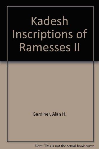 9780900416033: Kadesh Inscriptions of Ramesses II