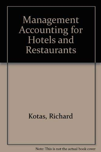 9780903384315: MANAGEMENT ACCOUNTING FOR HOTELS AND RESTAURANTS