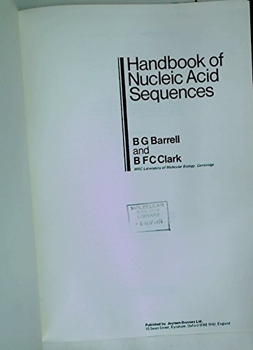 9780903848039: Handbook of Nucleic Acid Sequences