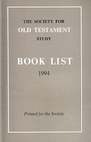 Society for Old Testament Study Book List, 1994