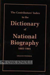 The Contributors' Index to the Dictionary of National Biography, 1885-1901