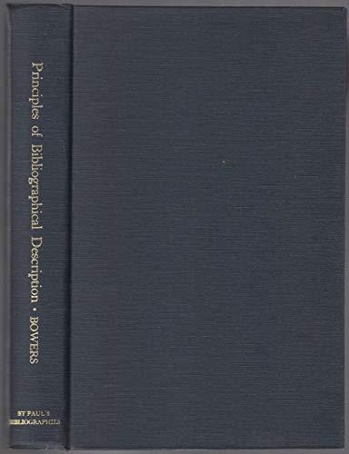 9780906795866: Principles of Bibliographical Description