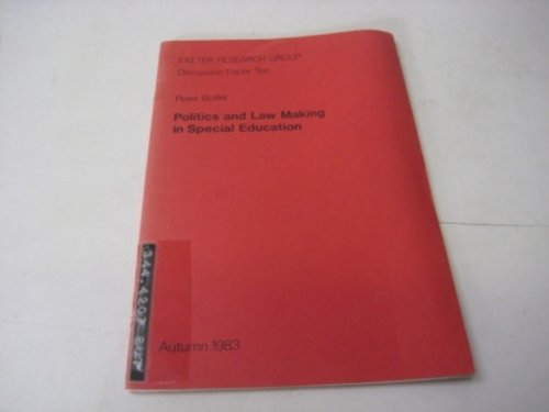 9780907021056: Politics and law making in special education (Discussion paper / Exeter Research Group)