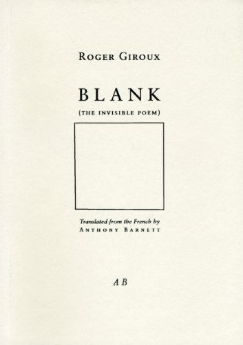 9780907954323: Blank: The Invisible Poem