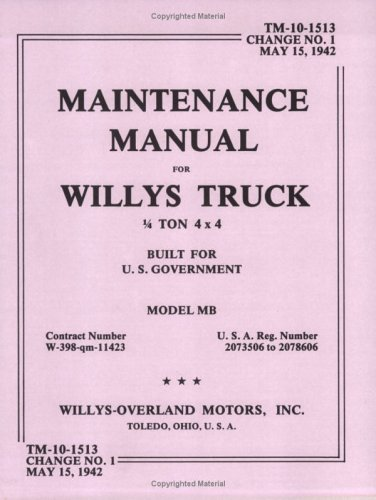 9780910667166: Maintenance Manual for Willys Truck 1/4 Ton 4X4 Built for U.S. Government Model Mb/Contract Number W-389-Qm-11423/U.S.A. Reg. No. 2073506-2078606