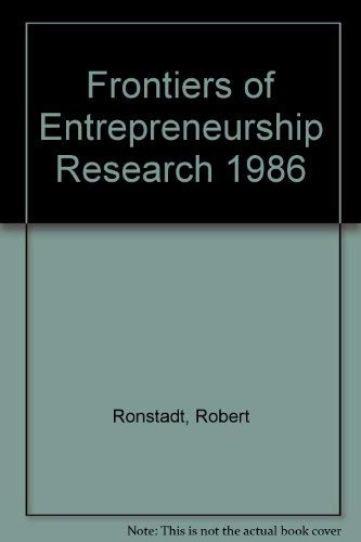 9780910897075: Frontiers of Entrepreneurship Research 1986