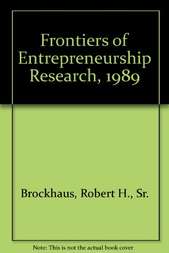 9780910897105: Frontiers of Entrepreneurship Research, 1989
