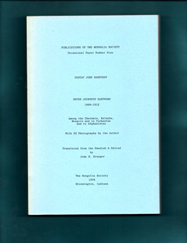 9780910980197: Seven Journeys Eastward, 1898-1912: Among the Cheremis, Kalmyks, Mongols, and in Turkestan, and to Afghanistan (Occasional Paper) (English, Finnish and Swedish Edition)