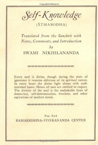 9780911206111: Self-Knowledge: Sankara's