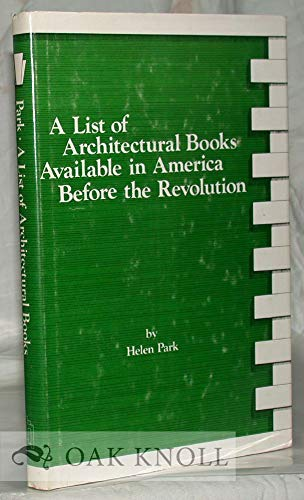 A List of Architectural Books Available in America Before the Revolution