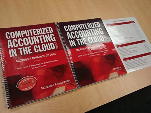9780912503509: Computerized Accounting in the Cloud Using Microsoft Dynamics-GP 2013