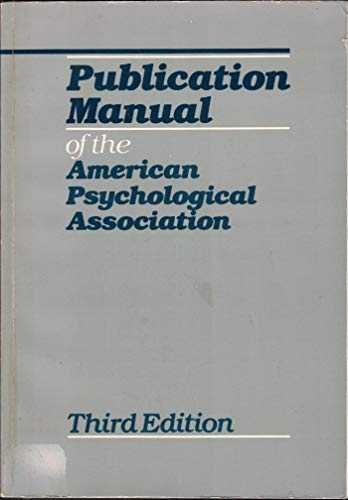 Publication Manual of the American Psychological Association: American Psychological Association