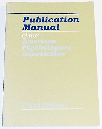 Publication Manual of the American Psychological Association: Alluisi, Earl A.
