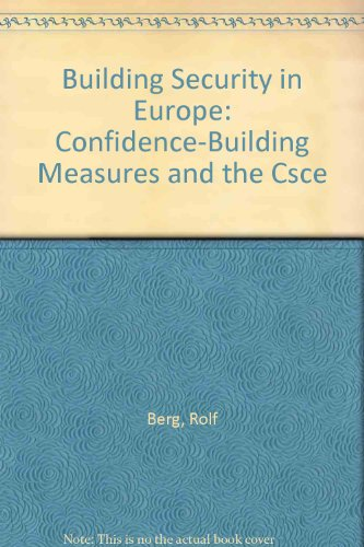 9780913449004: Building Security in Europe: Confidence-Building Measures and the Csce