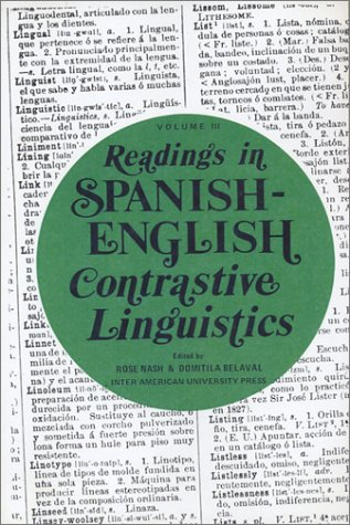 9780913480427: Readings in Spanish English Contrastive Linguistics, Vol. 3