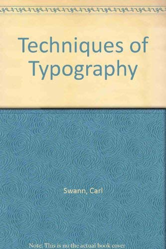 9780913720400: Techniques of Typography