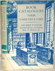 9780913720660: Book Catalogues: Their Varieties & Uses