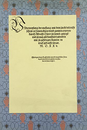 Underweysung der Messung mit dem Zirkel und Richtscheyt/Course in the Art of Measurement with Compass & Ruler (Printed Sources of Western Art Ser.) (German Edition) (0915346524) by Albrecht Dürer
